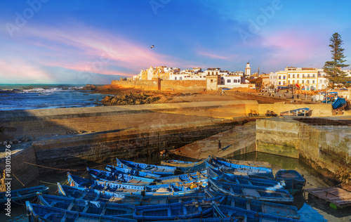 Poster Maroc Fishing port and Essaouira town at the sunset time, Morocco