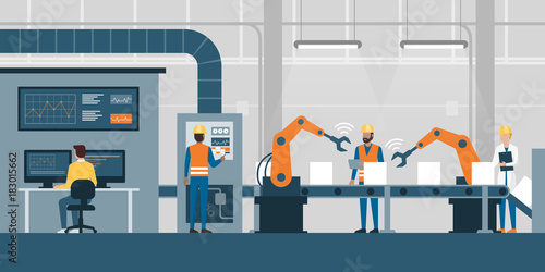 Smart factory and production line Poster Mural XXL