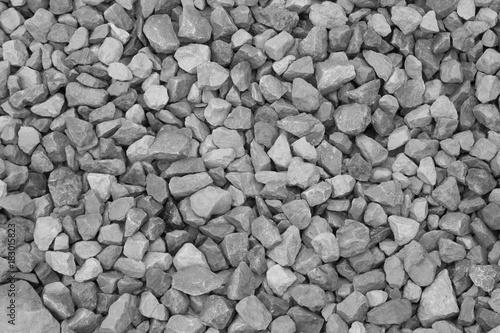 In de dag Stenen Gravel stone texture background, black and white.
