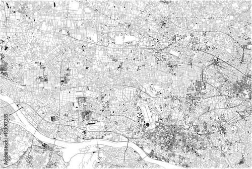 Zdjęcie XXL Ulice w centrum Tokio, mapa miasta, Japonia, ulica i mieszkania
