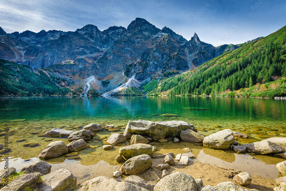 Fototapety, obrazy: Green water lake Morskie Oko, Tatra Mountains, Poland