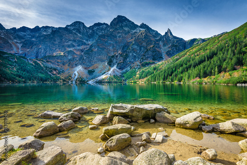 Foto auf Leinwand Blaue Nacht Green water lake Morskie Oko, Tatra Mountains, Poland
