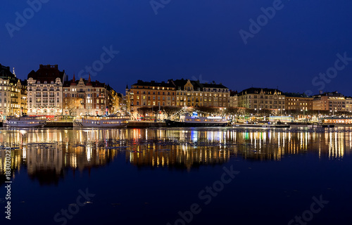 Night image from Stockholm city with Nybroviken and Strandvagen. Canvas