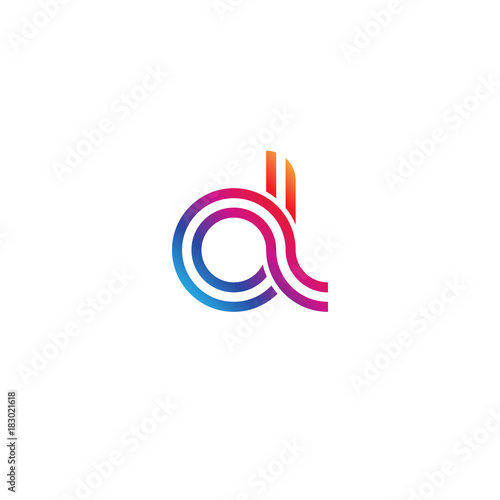 Photo Initial lowercase letter al, linked outline rounded logo, colorful vibrant gradi