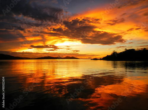 Colorful sunset at Nananu-i-Ra Island, Fiji