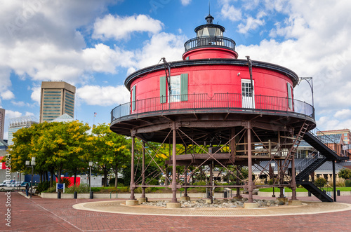 Seven Foot Knoll Lighthouse in Baltimore, MD, under Blue Sky with Clouds in Autumn