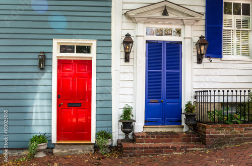 Traditional Red and Blue Wooden Front Doors in Alexandria, VA. Canvas Print