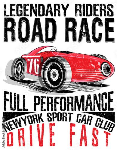 Wyścig samochodów sportowych. Samochód do drukowania old.vector plakat wyścigu.