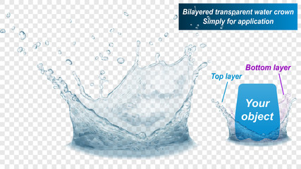 Translucent water splash crown consist of two layers: top and bottom. In gray colors, isolated on transparent background. Transparency only in vector file