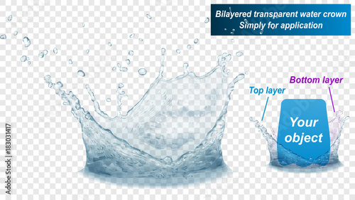 Translucent water splash crown consist of two layers: top and bottom Fototapeta