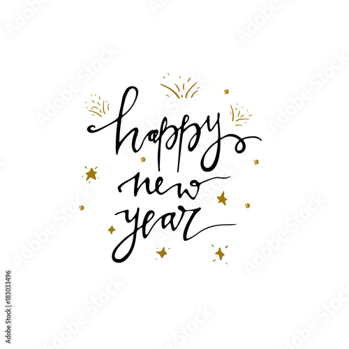 Happy New Year Postcard Template Modern Lettering Isolated