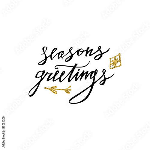 Seasons greetings card with christmas present gold glitter seasons greetings card with christmas present gold glitter elements hand lettering calligraphic inscription by m4hsunfo