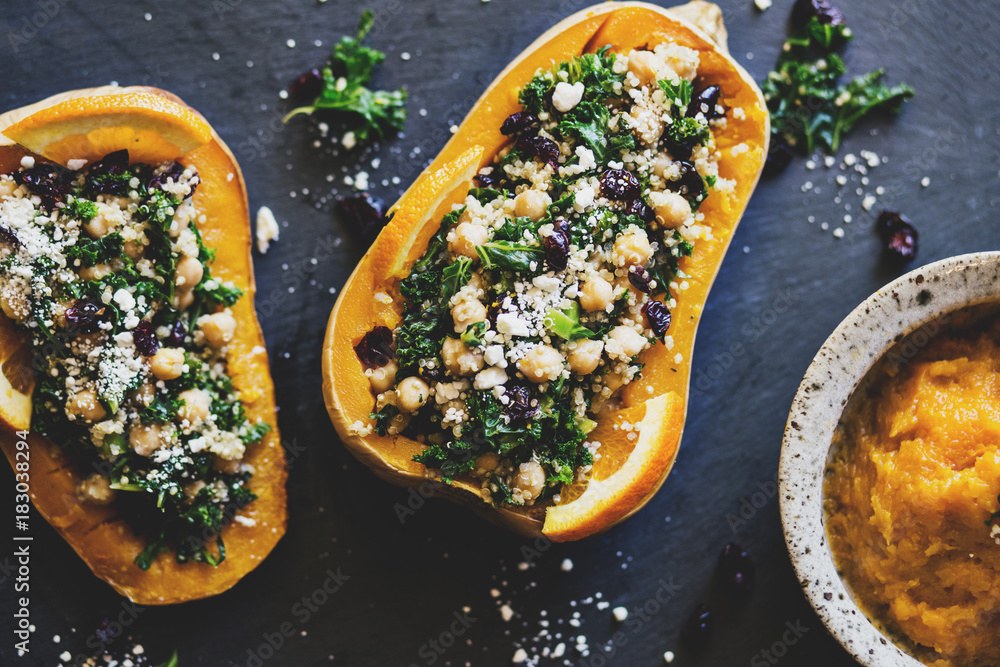 Fototapety, obrazy: Stuffed Butternut Squash with kale, cranberries, quinoa, and chickpeas
