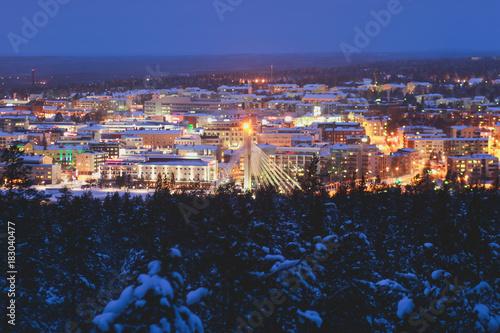 Night winter view of Rovaniemi city, Lapland, Finland