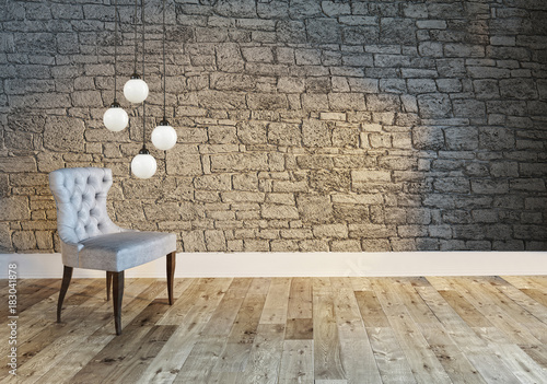 Empty Stone Wall Interior Design For Home Office Hotel