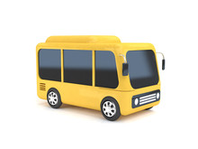 Yellow Bus Cartoon White Backg...