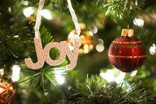 Joy Ornament On Christmas Tree