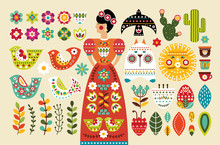 Set Mexican Folk Elements In F...