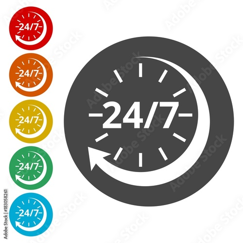 Fényképezés  Twenty four hours open, Vector open hours icon