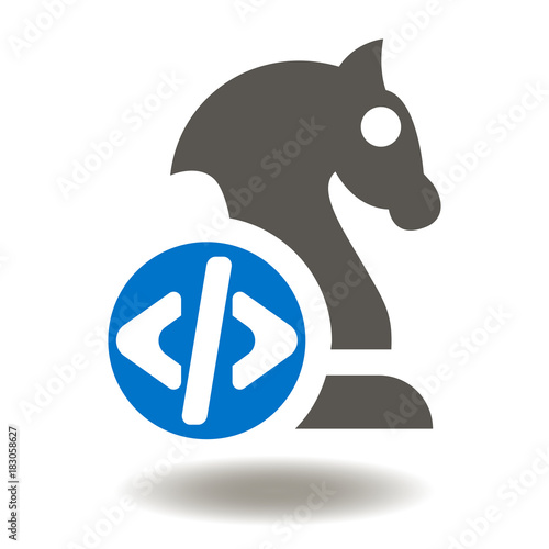 Chess Horse Figure Programming Code Icon Vector  API