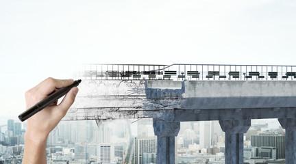 Hand drawing bridge