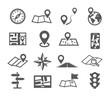 Leinwandbild Motiv Navigation and Map icons
