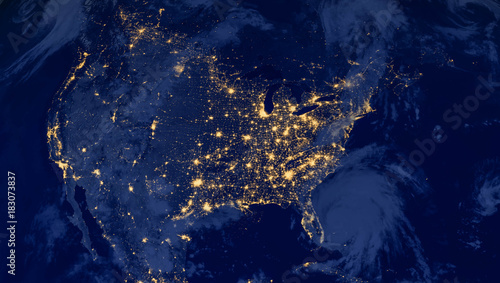 Montage in der Fensternische Nasa United States of America lights during night as it looks like from space. Elements of this image are furnished by NASA