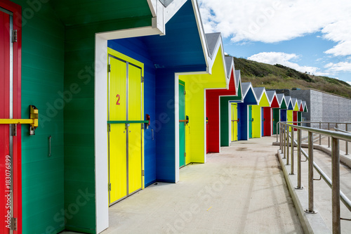 Fototapeta Colorful Beach Huts at Barry Island, Wales, UK