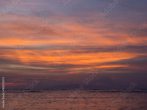 Foto op Aluminium Snoeien Beautiful sunset on a tropical beach in Gili, Indonesia. November, 2017