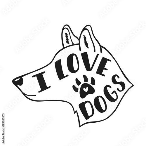 kocham-psy-odrecznie-inspirujacy-cytat-o-psie-typografia-napis-projekt-czarny