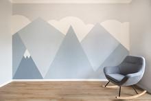Modern Scandinavian Style Design Mural Painted Room