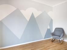 Modern Scandinavian Style Design Mural Painted Room