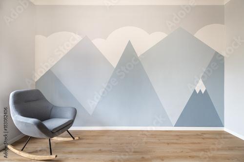 Fotografie, Obraz  Modern scandinavian style design mural painted room