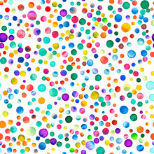 Watercolor Confetti Seamless Pattern. Hand Painted Quaint Circles. Watercolor Confetti Circles. Purple Scattered Circles Pattern. 98.