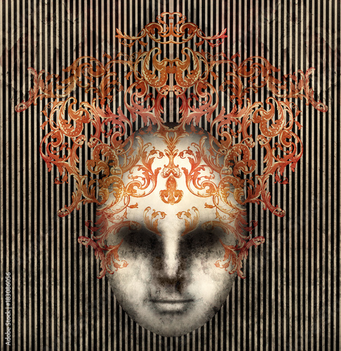 Poster Surrealism Baroque Mask