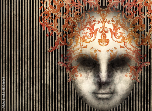 Ingelijste posters Surrealisme Baroque Mask