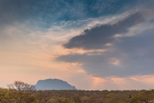 African Landscape In Lubango, Angola With Mountains And Dramatic Sunset.