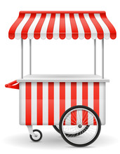 Street Food Cart Vector Illustration