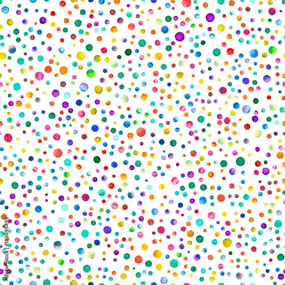 Watercolor confetti seamless pattern. Hand painted divine circles. Watercolor confetti circles. Purple scattered circles pattern. 158.