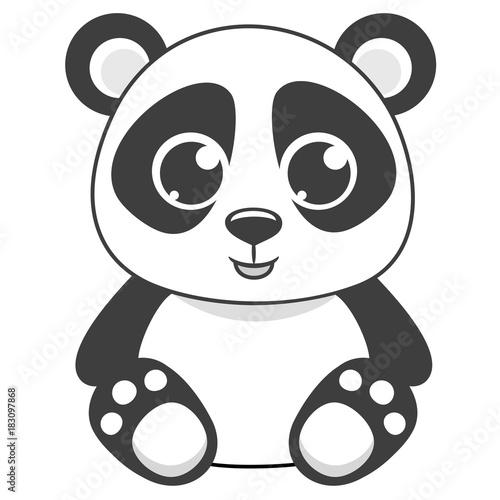 Photo  Cartoon panda vector illustration.