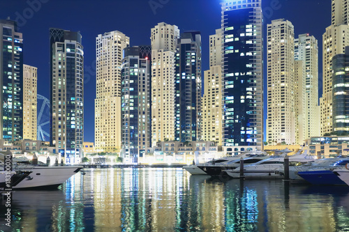 Photo  Illumination of night Dubai cityscape