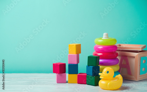 Fotografia, Obraz Baby toys on wooden table