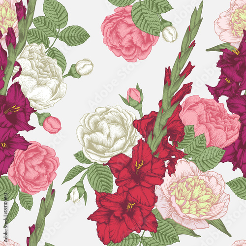 Vector floral seamless pattern with hand drawn gladiolus flowers, roses and peon Fototapet