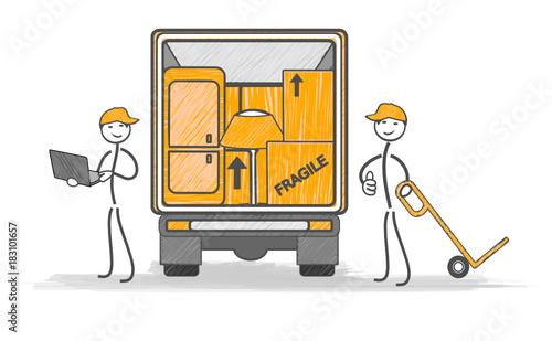 Fotografie, Obraz  déménagement transport chargement du camion