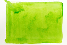 Green Watercolor Painted Texture Background On White Paper