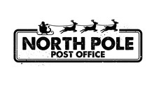 North Pole Post Office Rubber Stamp Vector
