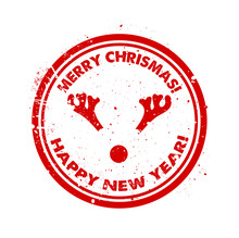 Chrsitmas Red Rubber Stamp With Reindeer Vector
