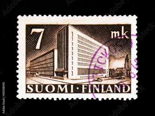 Poster  MOSCOW, RUSSIA - SEPTEMBER 3, 2017: A stamp printed in Finland shows Post Admini