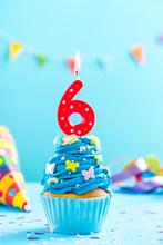 Sixth 6th Birthday Cupcake With Candle. Card Mockup.