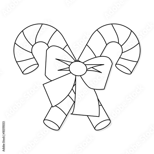 Christmas Candy Cane With Bow Outline Icon Symbol Design